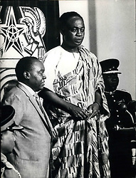 Jul. 04, 1960 - As first president of the new republic Ghana: On July 1st, Kwame Nkrumah (Kwame Nkrumah ) made his oath in the parliament of Accra, the capital of Ghana. Ghana, the former British colony Gold Coast, celebrated for 6 days her nomination as republic. Picture Shows: Kwame Nkrumah holding his first speech as president. In background the new golden chair for the President. (Credit Image: © Keystone Press Agency/Keystone USA via ZUMAPRESS.com)