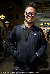Winston Yeh of Roughcraft Customs in Taiwan at the Monday night afterparty at Mooneyes Area One after the Mooneyes Yokohama Hot Rod & Custom Show. Yokohama, Japan. December 5, 2016.  Photography ©2016 Michael Lichter.