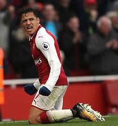 18 November 2017 London : Premier League Football : Arsenal v Tottenham Hotspur - Alexis Sanchez celebrates the second goal for Arsenal.(photo by Mark Leech)