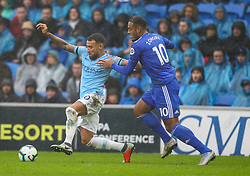 September 22, 2018 - Cardiff City, England, United Kingdom - Nicolas Otamendi of Manchester City and Kenneth Zohore of Cardiff City battle for possession during the Premier League match between Cardiff City and Manchester City at Cardiff City Stadium,  Cardiff, England on 22 Sept 2018. (Credit Image: © Action Foto Sport/NurPhoto/ZUMA Press)