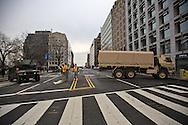 Millitary road blocks near the Capitol building where Trump inauguraion was held  Washington D.C.