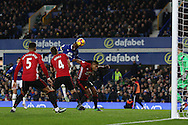 Enner Valencia of Everton heads towards goal but sees his effort saved. Premier league match, Everton v Manchester United at Goodison Park in Liverpool, Merseyside on Sunday 4th December 2016.<br /> pic by Chris Stading, Andrew Orchard sports photography.