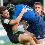 DUBLIN, IRELAND:  October 9:  Ryan Baird #4 of Leinster tackled by Nicholas Casilio #9 of Zebre during the Leinster V Zebre, United Rugby Championship match at RDS Arena on October 9th, 2021 in Dublin, Ireland. (Photo by Tim Clayton/Corbis via Getty Images)