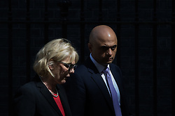 Small Business Minister Anna Soubry and State for Business Secretary Sajid Javid leave Prime Minister David Cameron's final cabinet meeting following Theresa May's anticipated takeover as Leader of the Conservative Party and Prime Minister on Wednesday 13th July 2016.