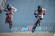 #373 (BLANC Renaud) SUI and #7 (GRAF David) SUI  at Round 9 of the 2019 UCI BMX Supercross World Cup in Santiago del Estero, Argentina