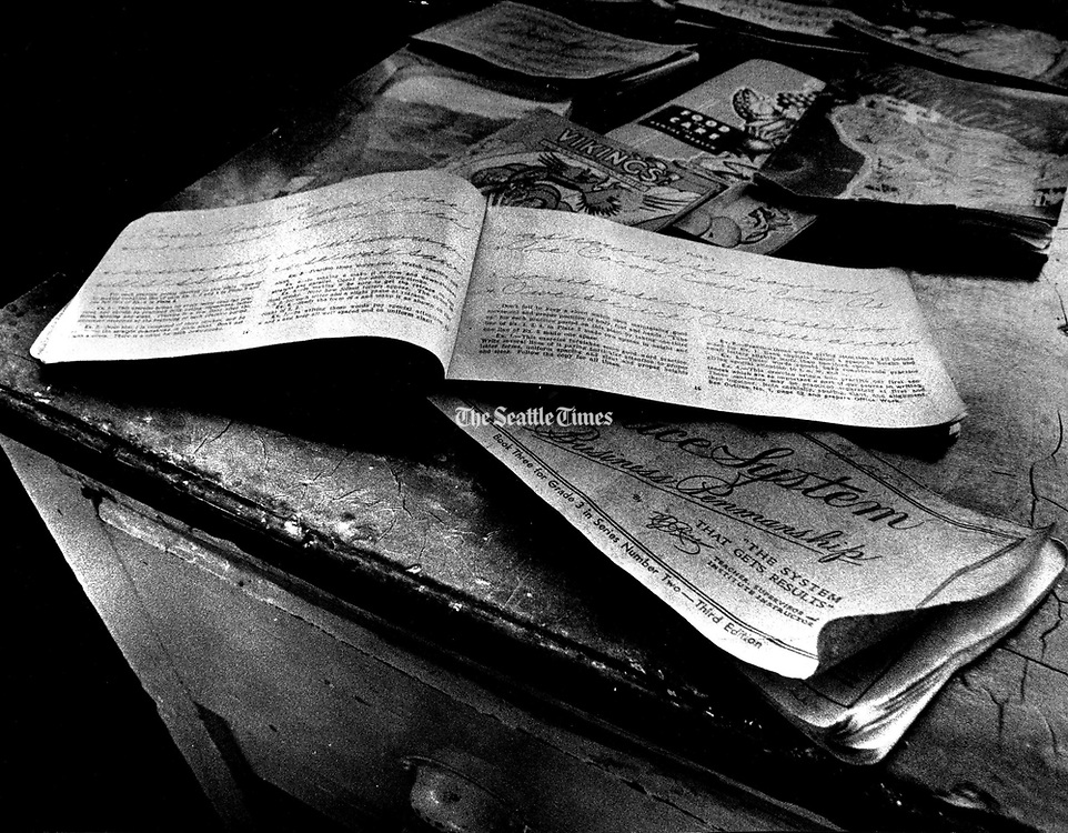 A penmanship workbook left in the old school in Ronald, Kittitas County. (Jerry Gay / The Seattle Times, 1976)