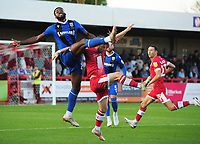 Football - 2021 / 2022 EFL Carabao Cup - Round One - Crawley Town vs Gillingham - The People's Pension Stadium - Tuesday, 10th August 2021<br /> <br /> Christian Maghoma of Gillingham and Will Ferry of Crawley<br /> <br /> Credit : COLORSPORT/Andrew Cowie