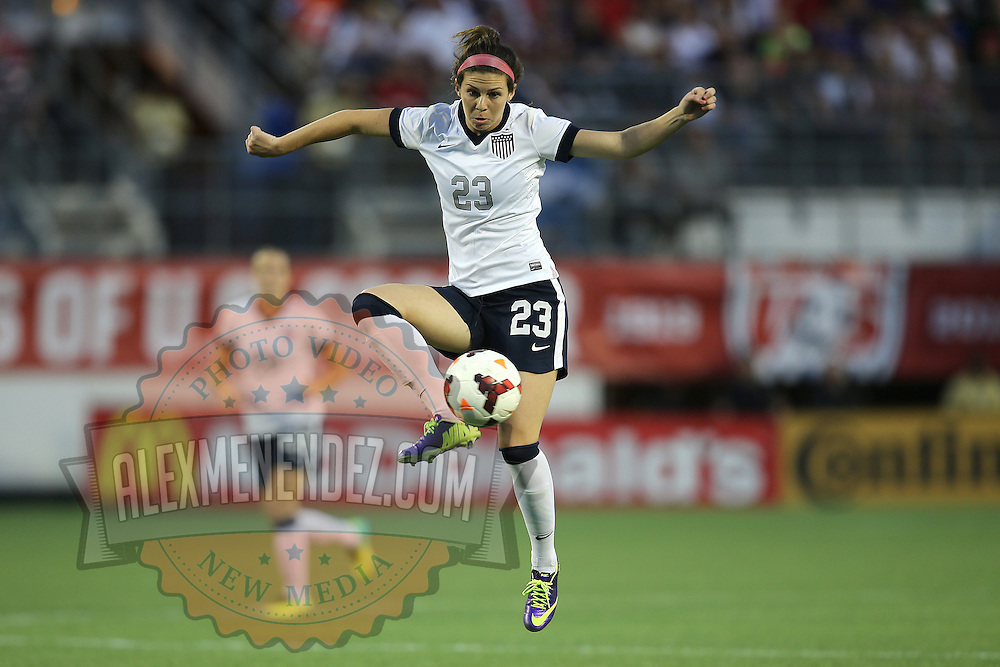 U.S. midfielder Erika Tymrak (23) stops the ball during a women's soccer International friendly match between Brazil and the United States National Team, at the Florida Citrus Bowl  on Sunday, November 10, 2013 in Orlando, Florida. The U.S won the game by a score of 4-1.  (AP Photo/Alex Menendez)