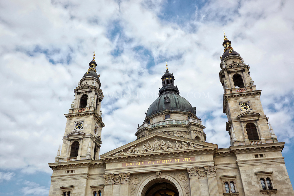 View of Saint Stephens Basilica and cloudy blue skies, Budapest, Hungary.