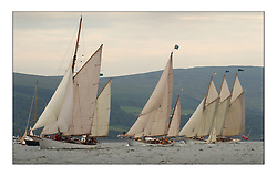 Kentra, Belle Adventure and Adix at the start off Largs in the passage to Helensburgh...This the largest gathering of classic yachts designed by William Fife returned to their birth place on the Clyde to participate in the 2nd Fife Regatta. 22 Yachts from around the world participated in the event which honoured the skills of Yacht Designer Wm Fife, and his yard in Fairlie, Scotland...FAO Picture Desk..Marc Turner / PFM Pictures