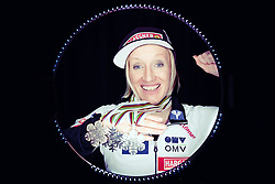 02.03.2019, Seefeld, AUT, FIS Weltmeisterschaften Ski Nordisch, Seefeld 2019, Österreichische Medaillengewinner im Bild Daniela Iraschko Stolz (AUT) posiert mit ihren Medaillen // Daniela Iraschko Stolz of Austria during a Photoshooting of Austrian Medal Winner of FIS Nordic Ski World Championships 2019. Seefeld, Austria on 2019/03/02. EXPA Pictures © 2019, PhotoCredit: EXPA/ JFK
