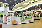 Israel, Tel Aviv interior of a shopping mall Fresh fruit juice stall
