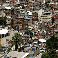South America, Brazil. Rio de Janiero. Housing in favela of Rocinho.