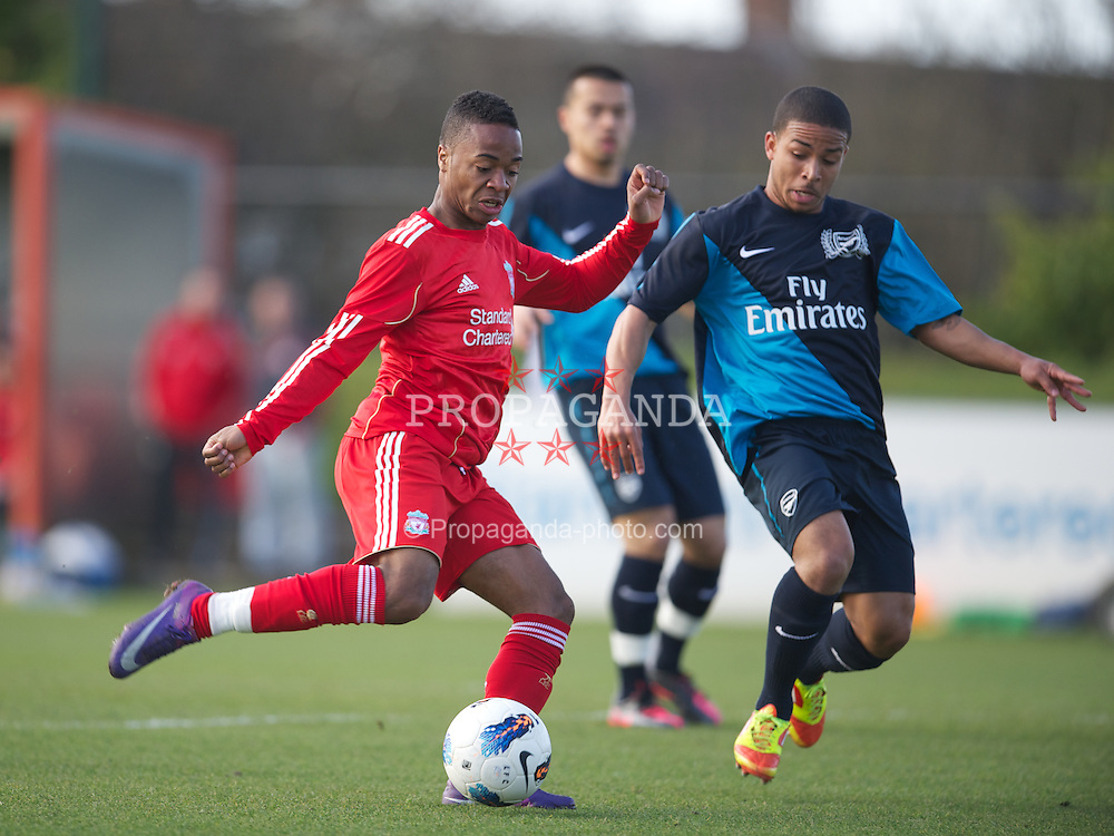 KIRKBY, ENGLAND - Tuesday, March 20, 2012: Liverpool's Raheem Sterling scores the first goal against Arsenal during the FA Premier Reserve League match at the Kirkby Academy. (Pic by David Rawcliffe/Propaganda)