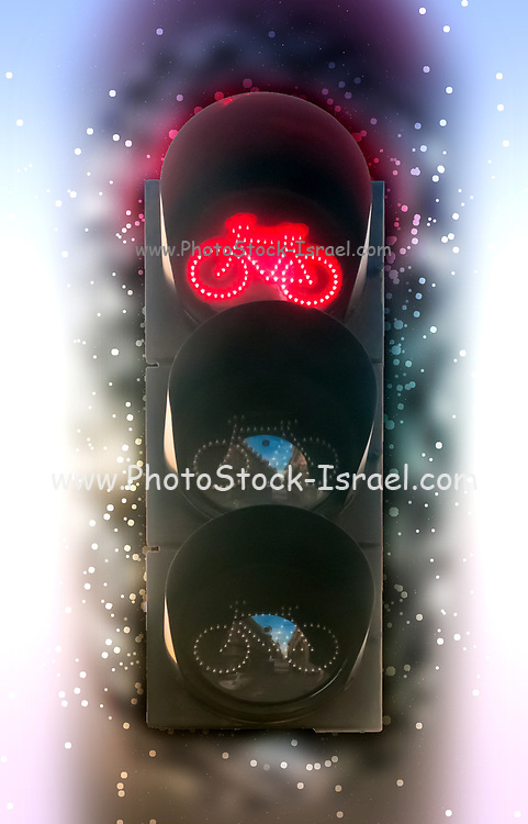 Digitally Enhanced Cycling traffic light. Photographed in Madrid, Spain