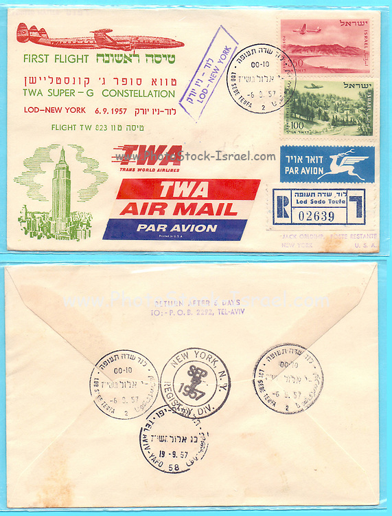First TWA (Trans World Airlines) flight Lod to New York 1957