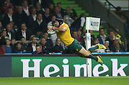 Matt Giteau of Australia scores a try late in the match. Rugby World Cup 2015 pool A match, England v Australia at Twickenham Stadium in London, England  on Saturday 3rd October 2015.<br /> pic by  John Patrick Fletcher, Andrew Orchard sports photography.
