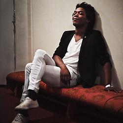 PARIS, FRANCE. NOVEMBER 2013, 28. Christophe Chassol before he went onstage at the Theatre Des Bouffes Du Nord. Photo: Antoine Doyen