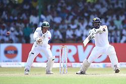 July 22, 2018 - Sri Lanka - Sri Lankan cricketer Angelo Mathews plays a shot during the third day of the second Test match between Sri Lanka and South Africa at the Sinhalese Sports Club (SSC) international cricket stadium in Colombo,Sri Lanka  on July 22, 2018. (Credit Image: © Pradeep Dambarage/Pacific Press via ZUMA Wire)