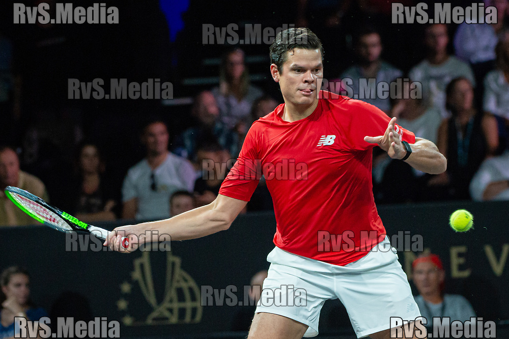 GENEVA, SWITZERLAND - SEPTEMBER 22: Milos Raonic of Team World plays a forehand during Day 3 of the Laver Cup 2019 at Palexpo on September 20, 2019 in Geneva, Switzerland. The Laver Cup will see six players from the rest of the World competing against their counterparts from Europe. Team World is captained by John McEnroe and Team Europe is captained by Bjorn Borg. The tournament runs from September 20-22. (Photo by Robert Hradil/RvS.Media)
