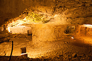 Israel, Jerusalem, Zedekiah's Cave – also known as Solomon's Quarries – is a 5-acre (20,000 m2) underground meleke limestone quarry that runs the length of five city blocks under the Muslim Quarter of the Old City. This cave was used (or maybe still used) for meetings of the Freemasons
