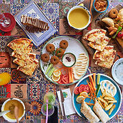 Top view of the table with snacks in Arada Cafe, Istanbul