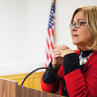 """111314  Adron Gardner/Independent<br /> <br /> Author Judith Avila speaks about her book """"Code Talker"""" at the Octavia Fellín Library in Gallup Thursday.  Avila co-wrote the book with with Navajo Code Talker Chester Nez before his death in June."""