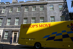 © Licensed to London News Pictures. 25/07/2019. London, UK. A removal van arrives in Downing Street to collect Theresa May's belongings. Photo credit: Dinendra Haria/LNP
