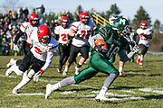 Ethan Morretti carries the ball as Minnechaug hosts Westfield for Thanksgiving Football at Minnechaug High School on November 23, 2017. (Chris Marion / The Republican)