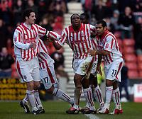 Photo. Glyn Thomas. 05/03/2005.<br /> Stoke City v Brighton. Coca Cola Championship.<br /> Stoke's Kenwyne Jones (C) celebrates scoring the first of his penalties.