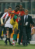Photo: Steve Bond/Richard Lane Photography.<br /> Guinea v Morocco. Africa Cup of Nations. 24/01/2008. Pascale Feindounou (C) shows his frustration after being sent off