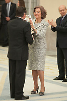 Queen Sofia of Spain awards Mireia Belmonte during the 2013 Sports National Awards ceremony at El Pardo palace in Madrid, Spain. December 03, 2014. (ALTERPHOTOS/Victor Blanco)