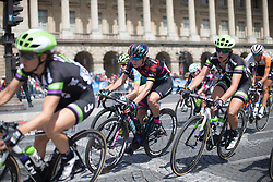Alena Amialiusik (BLR) of CANYON//SRAM Racing leans into the penultimate corner of the race loop during the La Course, a 89 km road race in Paris on July 24, 2016 in France.