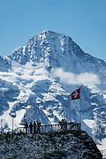 The Breithorn (3780 m/12,402 ft) seen from Lauterbrunnen Valley, near Männlichen, in Bern canton, Switzerland, the Alps, Europe.