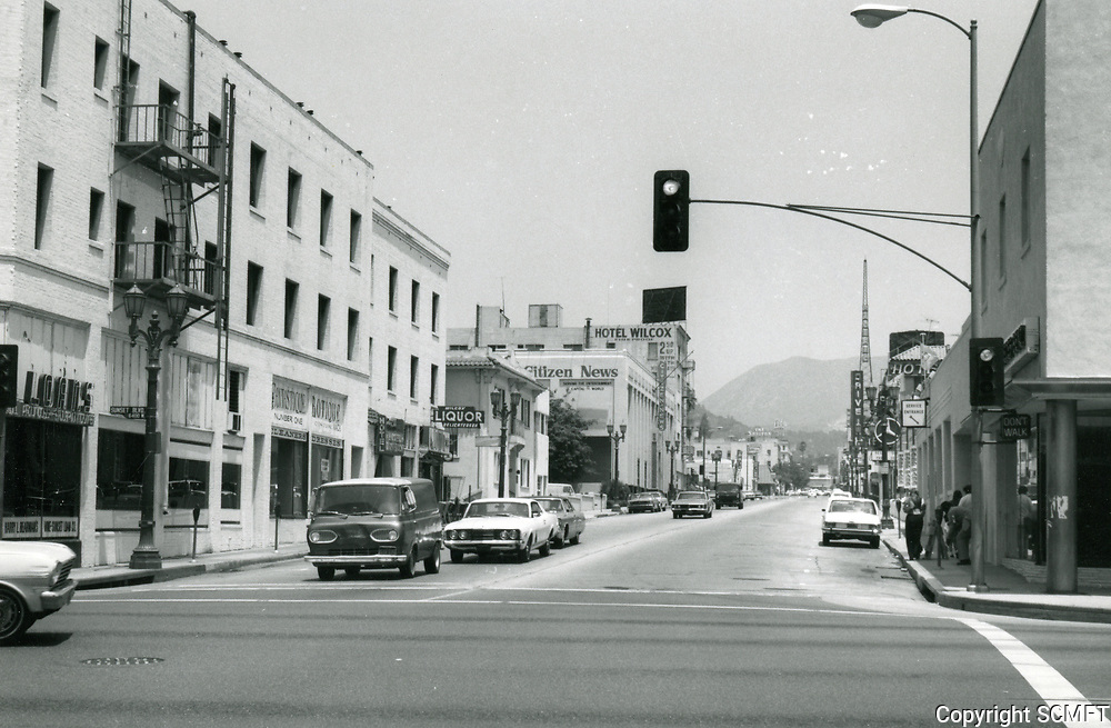 1973 Looking north up Wilcox Ave. from Sunset Blvd.