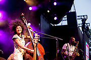 Brooklyn, NY - 28 July 2017. A crowd estimated at 9,000 filled the Prospect Park Bandshell, with an estimated 3,000 outside the fence, for a concert by Esperanza Spalding and Andrew Bird at the BRIC Celebrate Brooklyn! Festival. Esperanza Spalding on stage.