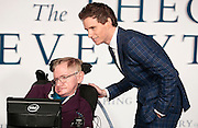 "Dec 9, 2014 - ""The Theory Of Everything"" - UK Premiere - Red Carpet Arrivals at Odeon,  Leicester Square, London<br /> <br /> Pictured:  Professor Stephen Hawking; Eddie Redmayne<br /> ©Exclusivepix Media"
