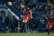 Grant Hall (QPR) heads the ball back to his keeper to stop the dangerous attack during the Sky Bet Championship match between Sheffield Wednesday and Queens Park Rangers at Hillsborough, Sheffield, England on 23 February 2016. Photo by Mark P Doherty.