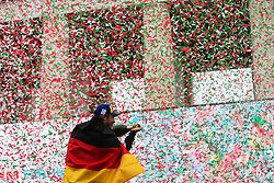 April 14, 2018 - Rome, RM, Italy - A. Lotterer of Techeetha Racing celebrate the 3th place of the Rome E-Prix Round 7 as part of the ABB FIA Formula E Championship on April 14, 2018 in Rome, Italy. (Credit Image: © Danilo Di Giovanni/NurPhoto via ZUMA Press)