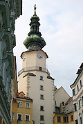 Europe, Slovakia, capitol city - Bratislava.  Michalska pedestrian zone with Michael tower..