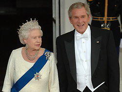 Britain's Queen Elizabeth II arrives for a state dinner hosted by the President of the USA, George Bush at the White House, Washington DC, on the sixth day of her state visit to the US.