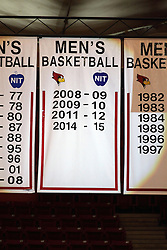 08 November 2015: The spotlight hits the Men's Basketball banner hanging from the rafters to note the success and post season progress of last seasons team. Illinois State Redbirds host the Southern Indiana Screaming Eagles and beat them 88-81 in an exhibition game at Redbird Arena in Normal Illinois (Photo by Alan Look)