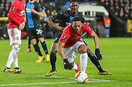 Manchester United forward Anthony Martial (9) gets away from Club Brugge defender Odilon Kossounou (5) during the Europa League match between Club Brugge and Manchester United at Jan Breydel Stadion, Brugge, Belguim on 20 February 2020.