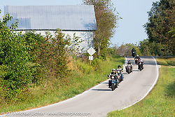 Chris Tribbey at the head of a group of riders during the Cross Country Chase motorcycle endurance run from Sault Sainte Marie, MI to Key West, FL (for vintage bikes from 1930-1948). Stage 5 had riders cover 213 miles from Bowling Green, KY to Chatanooga, TN USA. Tuesday, September 10, 2019. Photography ©2019 Michael Lichter.