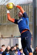 Rangers goalkeeper Allan McGregor (1) in warm up prior to the Ladbrokes Scottish Premiership match between Hamilton Academical FC and Rangers at New Douglas Park, Hamilton, Scotland on 24 February 2019.