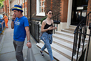 Anti Brexit protester Steve Bray waits outside a building in Westminster where Boris Johnson is taking part in a meeting on 16th July 2019 in London, England, United Kingdom.