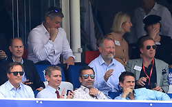 Prince Edward (left) and Damian Lewis (right) in the stands during the ICC Cricket World Cup group stage match at Lord's, London.
