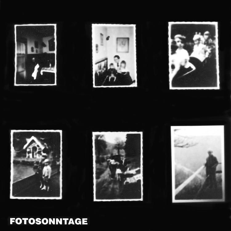 Sechs Sonntags-Aufnahmen aus der Kindheit auf einem Fotopapier vergrößert. <br /> <br /> Six on one paper enlarged fuzzy childhood photographs taken on Sundays.