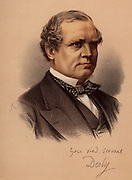 Edward Henry Stanley, fifteenth Earl of Derby (1826-1893). English politician. Foreign Secretary under Disraeli 1866-1868 and 1874-1878 (Conservative). Colonial Secretary 1882-1885 under Gladstone (Liberal). Liberal Unionist leader in House of Lords 1886-1891. From 'The Modern Portrait Gallery' (London c1880). Tinted lithograph.
