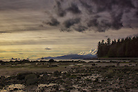 English Bay at low tide from Stanley Park, Vancouver, British Columbia, Canada.